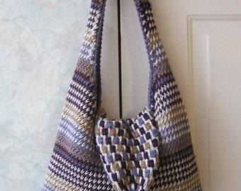 Vitnage boho hippie wool shoulder bag, slouchy woven wool shoulder bag, eggplant maize lavender ivory colors handcrafted shoulder bag