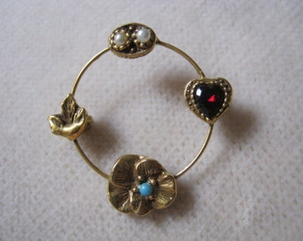 Vintage delicate circle pin, circle pin with flowers and heart detail,
