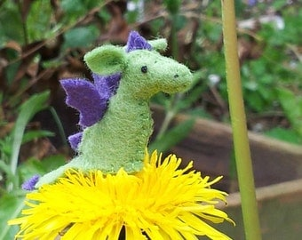 Tiny Dragon - miniature felt dragon collectible