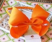INVENTORY BLOWOUT SALE----X Large Hair Bow U-Shape Arched Headband-----Tangerine Orange-