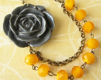 Flower Necklace Bridesmaid Jewelry Grey Necklace Yellow Jewelry Bib Necklace Statement Necklace Beadwork