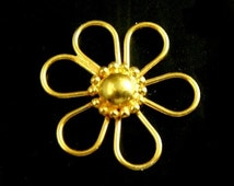 Vermeil Daisy Flower Connector Link,  1 pc- Bali 24k Gold over Sterling Silver- 19.5x3.5 mm (single side)-