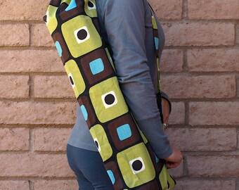 MODERN RETRO Yoga Mat Bag Yoga Mat Tote Yoga Bag Yoga Tote Yoga Sling Yoga Sac Yoga Sack, Handmade, Brown green
