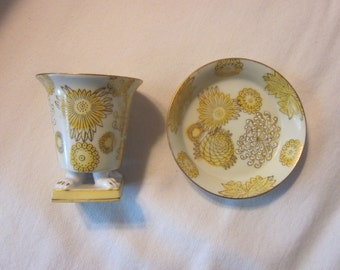 Splendid Porcelain Transferware Cup and Saucer in Lemon Yellow