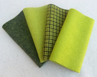 """Hand Dyed Wool Felt, APPLE GREEN, Four 6.5"""" x 16"""" pieces in Crisp Yellow Green, Perfect for Rug Hooking, Applique and Crafts"""