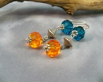 Beaded Earrings, Dangle Earrings, Multi-Colored Earrings, Silver OOAK