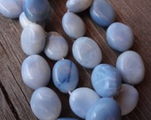 Blue Opal - Full Strand - 10x8mm Oval Beads.  Natural Gemstone Beads. Shabby Chic. Baby Blue. Beach Blue. Ice Blue. Clouds.
