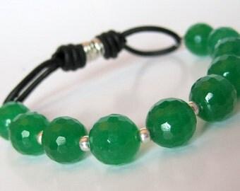 Emerald Jade Leather Stretch Bracelet