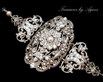 Pearl Bridal Bracelet, Crystal Wedding bracelet, Wedding jewelry, Bridal Cuff Bracelet, Bridal jewelry, Bridal statement bracelet
