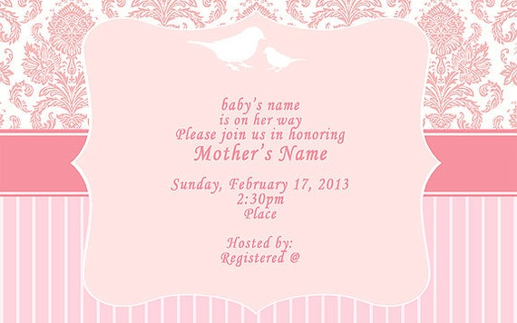 items similar to pink shabby chic baby shower invitations, Baby shower invitations