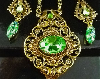 Vintage Victorian Style Peridot Rhinestone, Gemstone, and Green Opal  Brass Necklace and Earrings