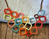 Crazy Squares Crochet Necklace. Lightweight Jewelry.