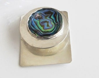Abalone Shell Pendant: Blue Green Paua Shell on Sterling Silver