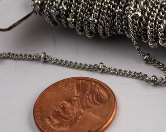 32 ft Rhodium BALL Solder Curb Chain - 1.6mm - tiny Antique Silver Satellite Solder Curb Chain - Free Matching Jumpring (50pcs) - from USA