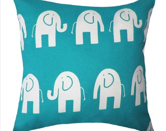 Elephant STUFFED Throw Pillow, Premier Prints Ele the Elephant True Turquoise Decorative Throw Pillow, Same fabric both sides - Free Ship