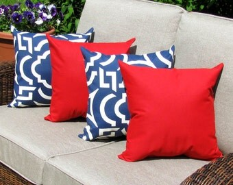 Red Outdoor Throw Pillow  - Carmody Navy and Sundeck Cherry Red Outdoor Throw Pillow free shipping