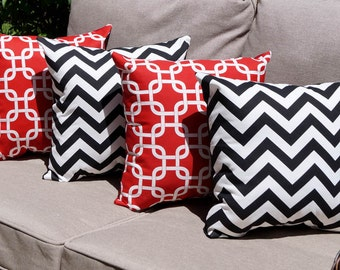 Gotcha Lipstick Red and Zig Zag Chevron Black Indoor Decorative Throw Pillows - 4 Pack Free Shipping
