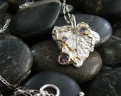 Silver and Gold Leaf Pendant with Amethyst Stones