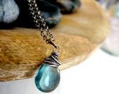Oxidized Sterling Silver - Teal Blue - Teardrop Fluorite Gemstone Necklace