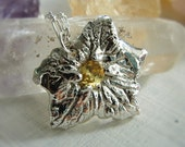 Sterling Silver Necklace with Large Gold Topaz Leaf Pendant