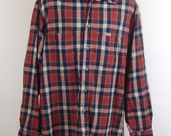 Men's Guess Shirt Vintage 1990 Woven Cotton Plaid Button Down Shirt L