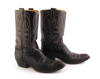 Black Cowboy Boots Vintage 1960s  Leather Men's 7 D
