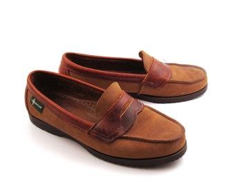 Eastland Penny Loafers Vintage 1980s Brown Shoes Dress Men's size 8 1/2
