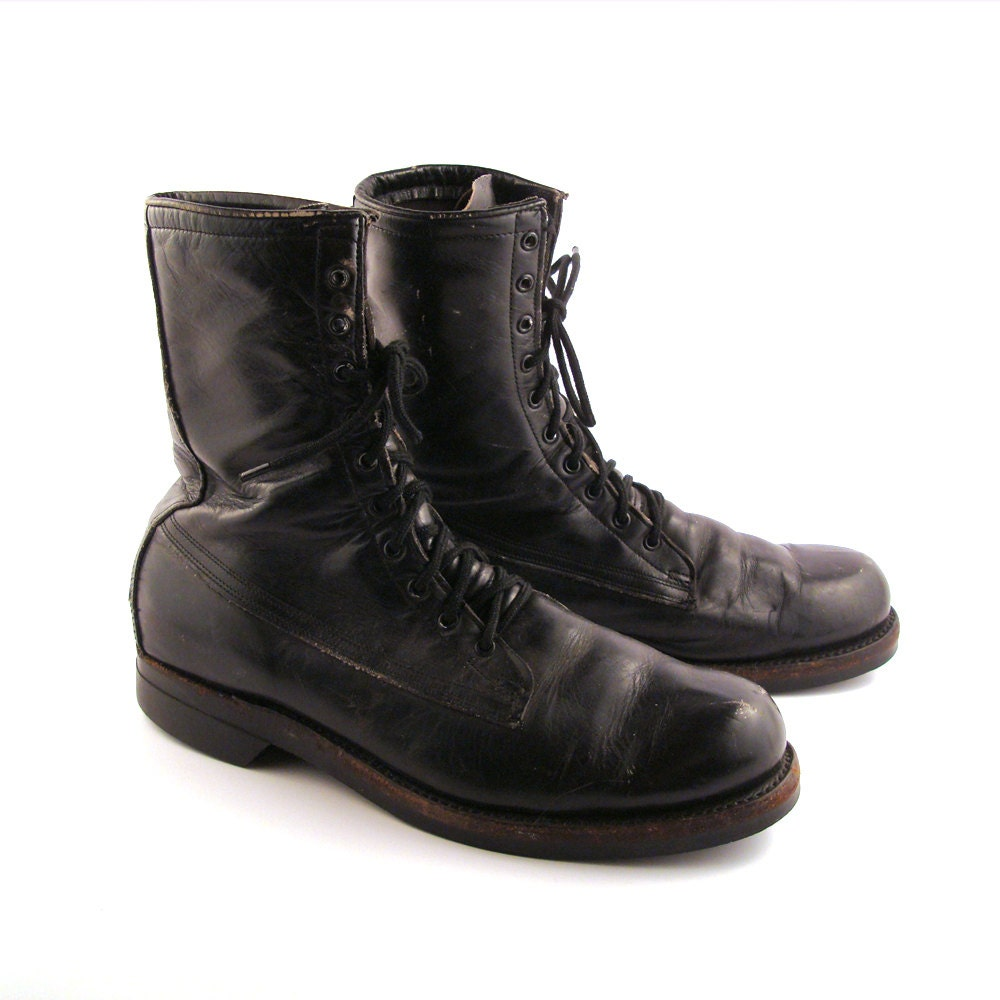 combat boots s vintage 1970s black leather distressed