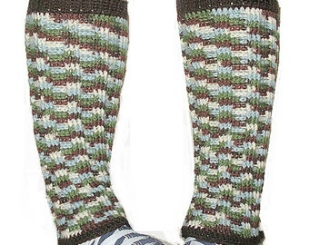 SALE Long Crochet Wool Leg Warmers in variegated dark brown, green, light blue and cream, ready to ship.