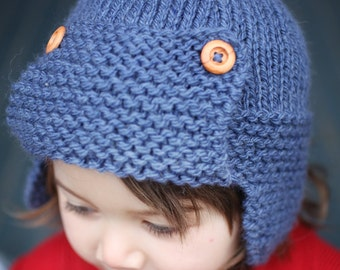 Aviator Hat Knitting Pattern, PDF Knitting Pattern, Child to Adult Sizes Aviator Hat Pattern, Knit Earflap Hat Pattern - CORY
