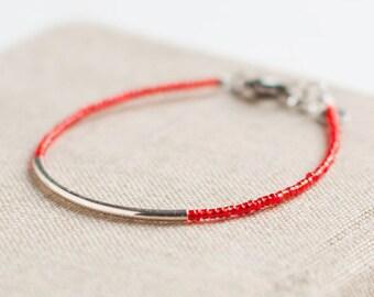Bar Bracelet with transparent red seed beads - minimalist bracelet - friendship bracelet - glass jewelry