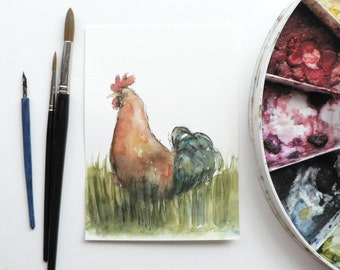 giclee print of an ink and watercolor painting of a rooster / cockerel in the grass