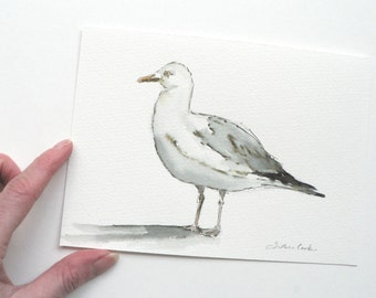 giclee print of an ink and watercolor painting of a seagull