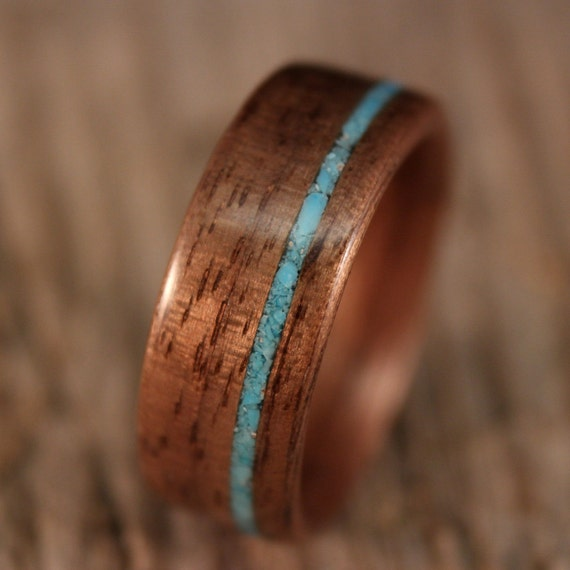 Wooden Ring - Walnut Bentwood Ring with Offset Turquoise Inlay - Handcrafted Wood Wedding Ring - Custom Made