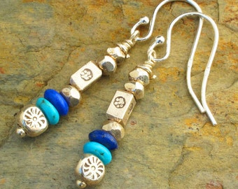 Lapis Turquoise Thai Silver Earrings - Southwest Dangles