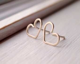hand forged heart silver earrings