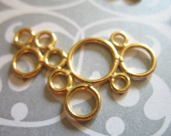 Shop Sale.. 1 pc, Bubble Circles Pendant Charm Link Connectors, 24k Gold Vermeil, 29.5x19.5 mm, geometric wholesale  bubblest hp