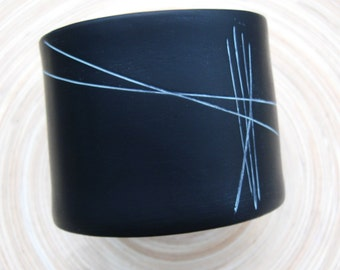 SALE Black Cuff Bracelet Abstract Design, Twine Tie for Men Unisex Handmade by theshagbag on Etsy