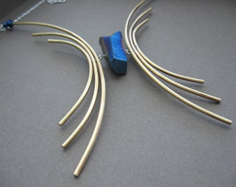 Sleek arcing lines necklace in copper or bronze with sterling silver - Electric Blue Titanium Quartz Crystal