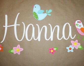 Fabric WALL NAME DECALS Sweetest Tweat Lil Birdie Girls Bedroom Baby Nursery Wall Name Decal