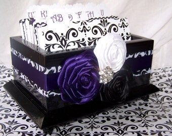 GUEST Book Box, Purple, Black and White Damask, Dark Purple, Custom colors available