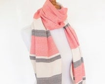 Handwoven Cashmere Scarf in Orange, Off White and Chocolate Brown