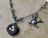 Bird's Nest Necklace, Pearl Necklace, Oxidized Sterling Silver - Mother's Day Gift, Teacher, Baby Shower by CircesHouse