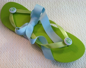 Campus Chic -- Pair of Mini Monogrammed Flip Flop Buttons