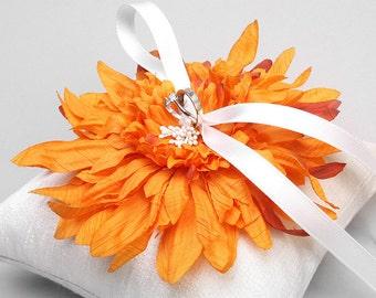 Orange flower ring pillow, ring bearer pillow, ring holder - Evelyn