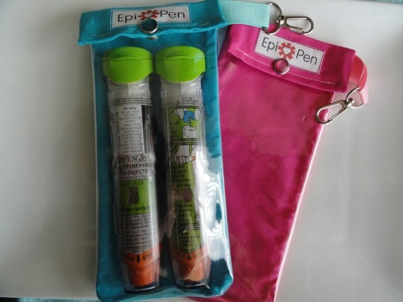 Epi Allergy Pen Pouches (2 Pack) Clear Pocket and Clip Each Holds 2 Injectors - 4x8 You Choose Fabric