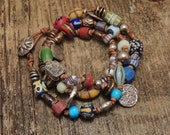 RESERVED FOR CAROL  -  Do Not Purchase     African Trade Bead, Leather, Silver, Copper Bracelet, Triple Wrap Bracelet, Sundance Style