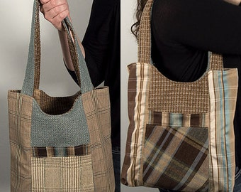 Blue and Brown Plaid Medium Tote Bag