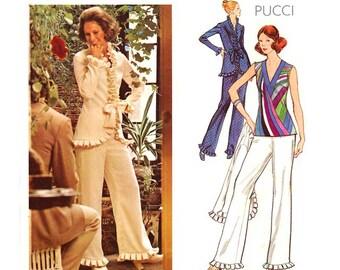 70s Pucci Pantsuit Vogue Couturier Pattern 2712, Womens Pant Suit, Jacket, Top, Pants, Ruffle Trim, Uncut, Vintage Sewing Patterns
