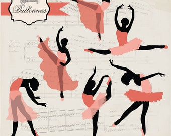 Instant Download -Ballerinas digital clipart- printable artwork - commercial use